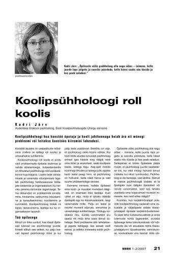 Koolipsühholoogi roll koolis - Haridus