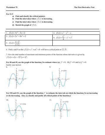 Concepts Worksheet 7 - Graph Sketching Using Derivatives