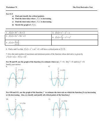 concepts worksheet 7 graph sketching using derivatives. Black Bedroom Furniture Sets. Home Design Ideas