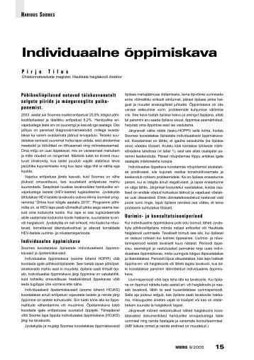 Individuaalne õppimiskava (Pirjo Tilus) - Haridus