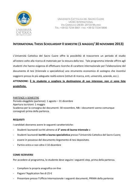 international thesis scholarship unicatt