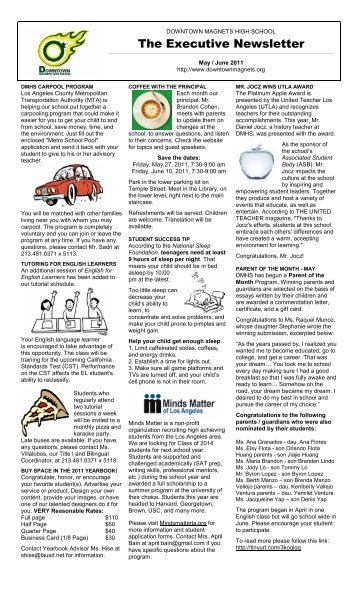 May / June 2011 Newsletter - Downtown Magnets High School