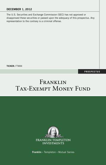 Franklin Tax-Exempt Money Fund Prospectus - Franklin Templeton