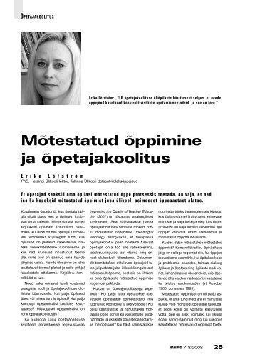 Mõtestatud õppimine ja õpetajakoolitus (Erika Löfström) - Haridus