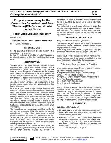 FREE THYROXINE (fT4) ENZYME IMMUNOASSAY TEST ... - Linear