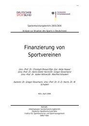 Finanzierung von Sportvereinen - Hamburger Sportbund e.V.