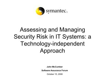 Assessing and Managing Security Risk in IT ... - Build Security In
