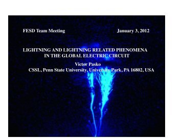 LIGHTNING AND LIGHTNING RELATED PHENOMENA IN THE ...