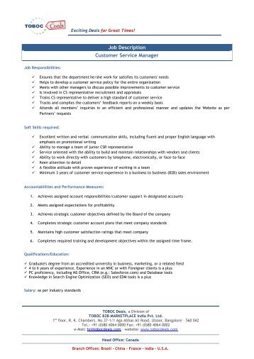 Customer Service Manager Job Description  Ex