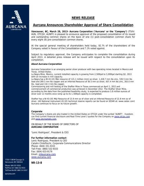 NEWS RELEASE Aurcana Announces Shareholder Approval of