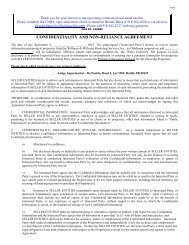 CONFIDENTIALITY AND NON-RELIANCE AGREEMENT - Williams ...