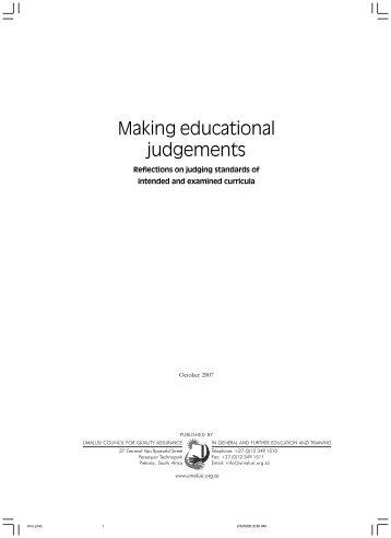Making educational judgements - Umalusi