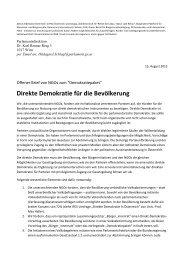 Offener Brief - Mehr direkte Demokratie in Österreich