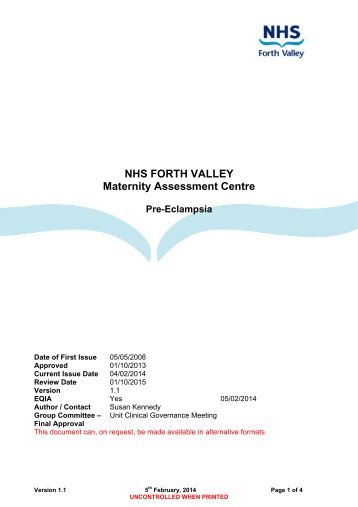 Pre-Eclampsia - NHS Forth Valley