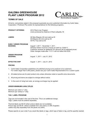 galema greenhouse plant liner program 2012 - Carlin Sales ...