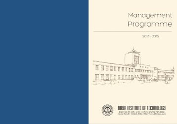 MBA Placement brochure - Birla Institute of Technology