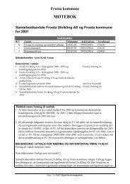 Frosta kommune MØTEBOK Samarbeidsavtale Frosta Utvikling AS og