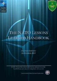 NATO Lessons Learned Handbook - Joint Analysis and Lessons ...