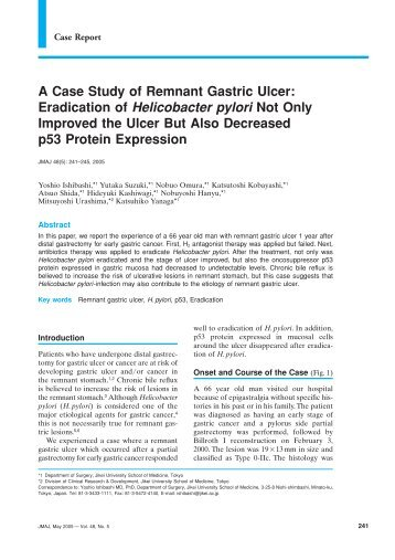 A Case Study of Remnant Gastric Ulcer: Eradication of Helicobacter ...