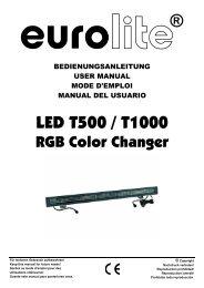 EUROLITE LED T500/T1000 RGB Farbsechsler User Manual - Ljudia