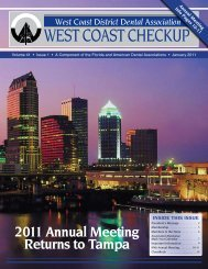 West Coast District Dental Association WEST COAST CHECKUP