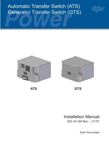 (ATS) Generator Transfer Switch (GTS) - Interprovincial Traffic ...