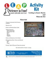 Getting to Know Rocks and Minerals Kit, pg 1-2