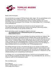 Informatiebrief met eisen TOPklas Muziek - Valuascollege