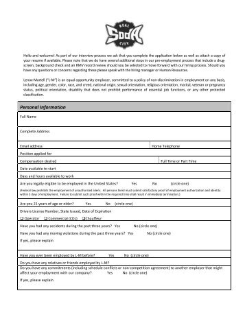 job application - Lenox-Martell Inc