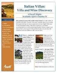 Villa and Wine Discovery - Avanti Destinations