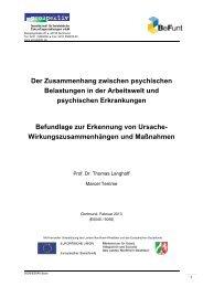 Der Zusammenhang zwischen psychischen Belastungen in ... - BeFunt