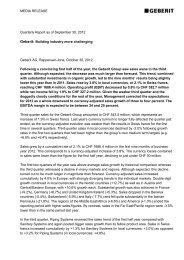 Quarterly Report as of September 30, 2012 - Geberit International AG