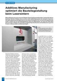 Additives Manufacturing 02/2013 - Kegelmann Technik
