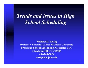 Trends and Issues in High School Schedules