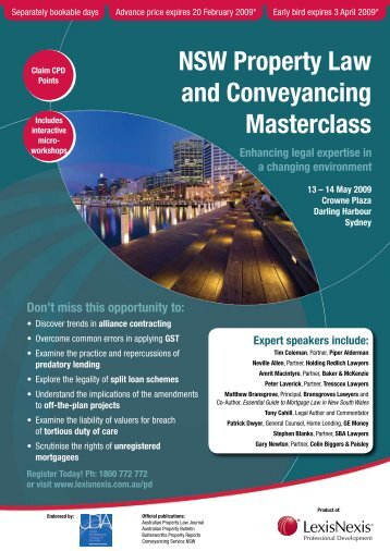 NSW Property Law and Conveyancing Masterclass - LexisNexis