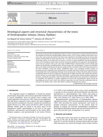 Histological aspects and structural characteristics of the ... - Unesp