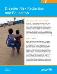 UNICEF Disaster Risk Reduction and Education brochure