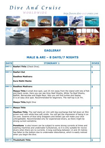 EAGLERAY MALE & ARI – 8 DAYS/7 NIGHTS - Dive and Cruise
