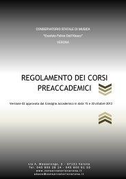 Il regolamento - Conservatorio di Verona
