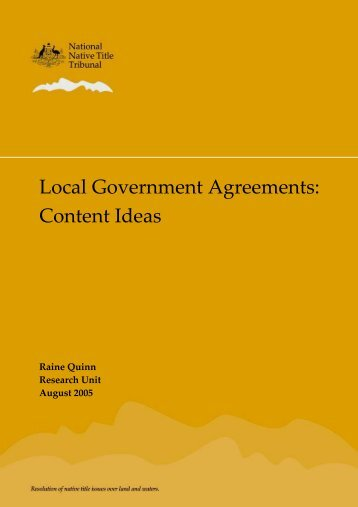 Local Government Agreements - National Native Title Tribunal