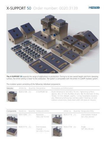 X-SUPPORT 50 Order number: 0020.3139 - Matrix GmbH