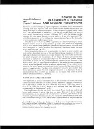 power in the classroom i: teacher and student perceptions - James C ...