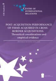POST-ACQUISITION PERFORMANCE OF FIRMS ACQUIRED IN ...