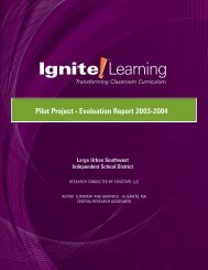 Pilot Project - Evaluation Report 2003-2004 - Ignite! Learning