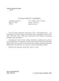 LATVIJAS ZINĀTŅU AKADĒMIJA - Latvian Academy of Sciences