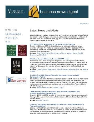 Business News Digest – August 2013 - Venable LLP