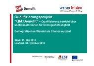 das Projekt QM:Demofit - Initiative weiter bilden