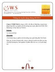 Thông tin tuyển dụng tháng 04/2012