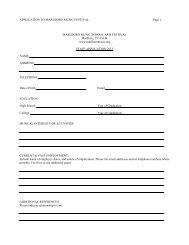 APPLICATION TO MARLBORO MUSIC FESTIVAL Page 1 ...