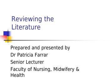 Writing a literature review - Graduate Research School